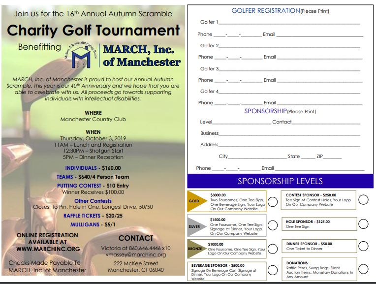 Save the Date!  MARCH, Inc Autumn Golf Scramble – October 3rd, 2019